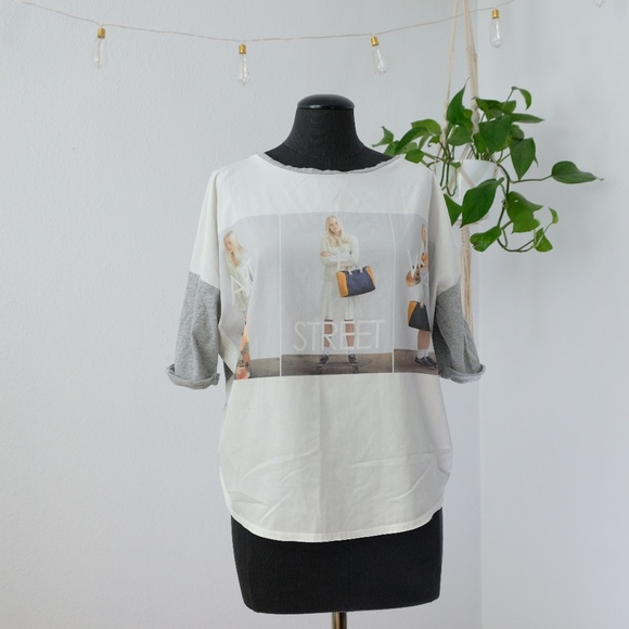 Zara Tops - Zara W&B Collection Art Street Wear Graphic Tee S